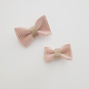 Barrette velours rose